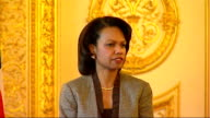 Condoleezza Rice and David Miliband photocall press conference Downing Street arrival and Gordon Brown meeting Condoleezza Rice press conference SOT...