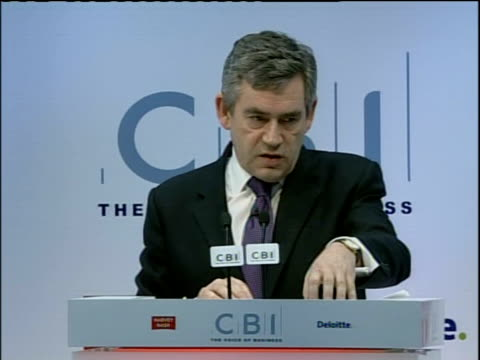 Confederation of British Industry annual conference Gordon Brown arrival speech and QA session INT Gordon Brown MP along to podium on stage and...