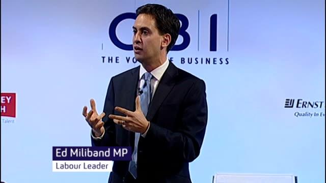 David Cameron under pressure over European Union issues ENGLAND London CBI INT Ed Miliband MP speech SOT I will not let Britain sleepwalk towards...