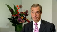 Nigel Farage interview ENGLAND London INT Nigel Farage interview SOT On European elections / tackling health tourism / ATM crime being committed by...
