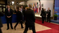 European Union leaders meet in Brussels Prime Minister David Cameron MP from car and into building David Cameron MP speaking to press SOT We need to...