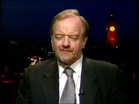 Chechen Assault Blair Condemnation ITN ENGLAND London Westminster Robin Cook MP interview SOT we acted in Kosovo in their interests we have good...