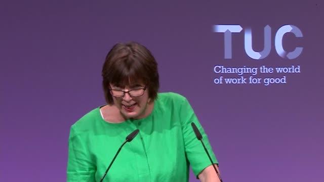 Frances O'Grady speech ENGLAND East Sussex Brighton INT Frances O'Grady speech SOT