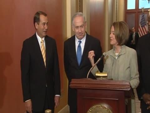 Congresswoman Nancy Pelosi with Isreali Prime Minister Benjamin Netanyahu during trip to Washington DC 23 May 2010