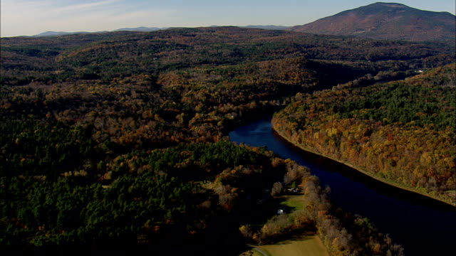 Connecticut river and state border - Aerial View - Vermont,  Windsor County,  United States