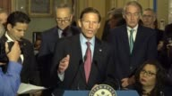 Connecticut Senator Richard Blumenthal tells reporters that says he intends to ask Deputy Attorney General Rod Rosenstein to commit to appointing a...