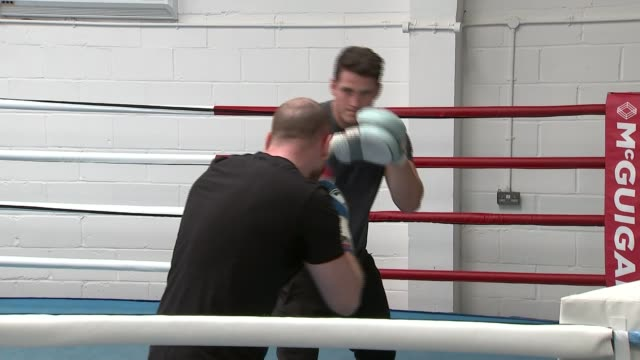 Conor McGregor to face Floyd Mayweather in boxing showdown ENGLAND London McGuigan Gym Various shots of men sparring in boxing ring during training...