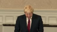 Boris Johnson pulls out of race INT Boris Johnson cheered and applauded by supporters as to press conference podium/ Boris Johnson MP press...