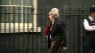 Liam Fox and Stephen Crabb out of race ENGLAND London Downing Street EXT Michael Gove MP into No10 as makes thumbs up sign Theresa May MP and Michael...