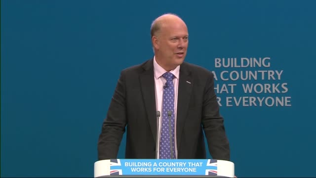 Day 2 Chris Grayling speech ENGLAND Manchester INT Chris Grayling MP speech SOT