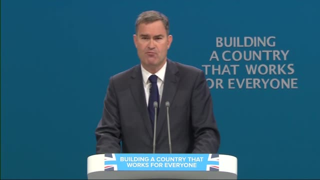 Day 2 David Gauke speech ENGLAND Manchester INT David Gauke MP speech SOT