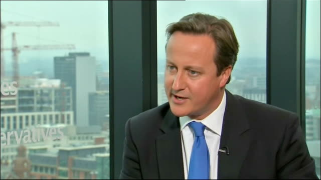 David Cameron interview ENGLAND Manchester INT David Cameron MP interview SOT On why he went into politics / need for the 'British dream' / class...