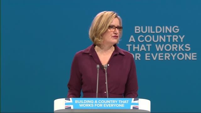 Day 3 Amber Rudd speech ENGLAND Manchester INT Amber Rudd MP speech SOT