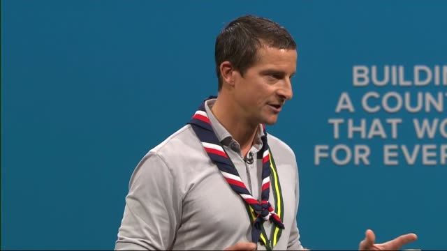 Day 3 Chief Scout Bear Grylls speech ENGLAND Manchester INT Bear Grylls speech SOT / Grylls joined by young Scouts Ferdous and Jack who speak as well...