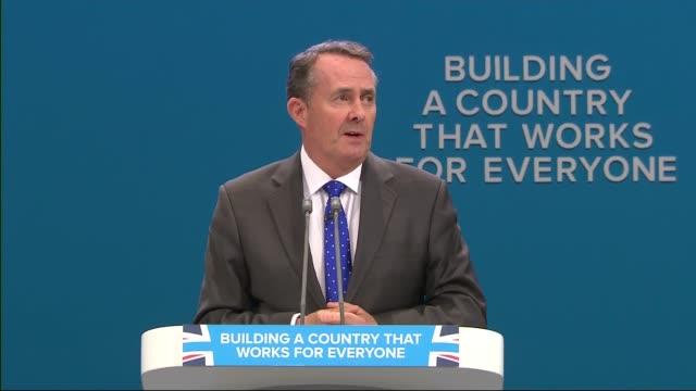 Day 3 Liam Fox speech ENGLAND Manchester INT Liam Fox MP speech SOT