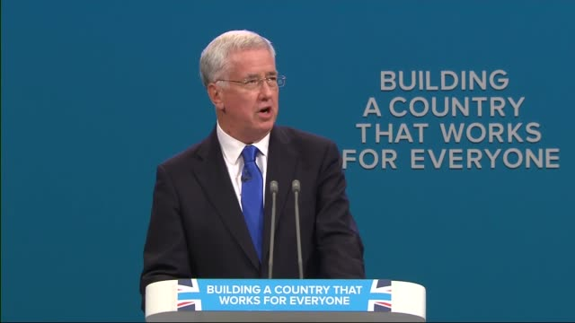 Day 3 Michael Fallon speech ENGLAND Manchester INT Michael Fallon MP speech SOT