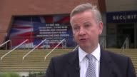 Michael Gove interview ENGLAND Manchester EXT Michael Gove MP interview SOT On David Cameron's speech a great speech from a politician absolutely at...
