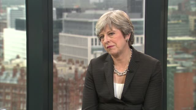 Theresa May interview ENGLAND Manchester INT Theresa May MP interview SOT