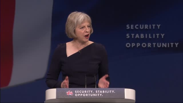Theresa May speech on immigration ENGLAND Manchester INT Theresa May walking on stage / Theresa May MP speech SOT Thank you Arminka Baroness Helic...