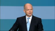 William Hague speech ENGLAND Birmingham The ICC INT High angle shot of conference as William Hague being announced SOT / Conservative Party members...