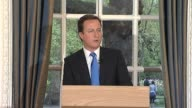 Conservative Party leader David Cameron holds press conference after the results of the general election lead to a hung parliament with the...