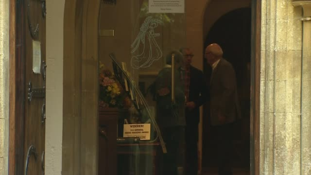Theresa May church arrival and departure ENGLAND Berkshire Sonning EXT Theresa May MP and husband Philip May arrival and departure for Sunday morning...