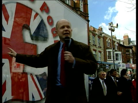 William Hague Welfare Cuts Plans ENGLAND Great Yarmouth Puddle in street as rain falls GV Empty street with puddles in road LA MS Sign 'Joyland'...
