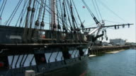 MS PAN USS Constitution first launched in 1797 ('Old Ironside'), bow of ship and gangplank / Boston, Massachusetts, USA