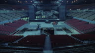 T/L WS HA Construction of large rock concert stage in stadium, testing lights