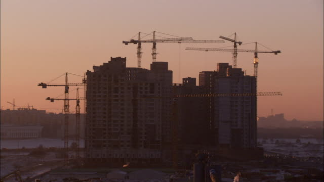 Construction site at dusk Available in HD.
