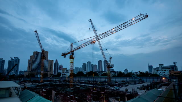 Construction Site : Day To Night Time-Lapse