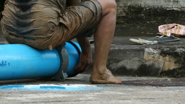 construction site , repairing big underground water pipe