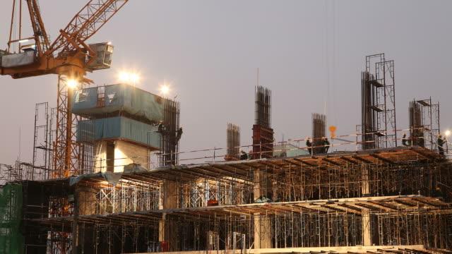 Construction Site Time Lapse at Dusk