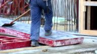 Construction Worker Preparing Steel Frame Formwork MS