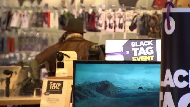 Consumer group Which warning over Black Friday deals ENGLAND Birmingham INT 'Black Tag Event' signs FOCUS 'Black Friday' sign