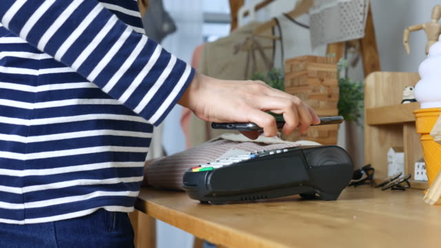 Contactless Payment with Mobile Phone in a shop