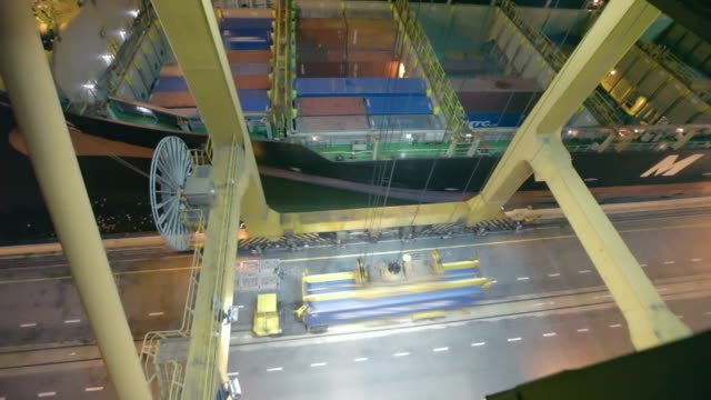 Container being loaded on cargo ship