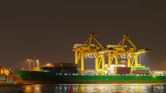 Container Cargo freight ship at night, Time lapse