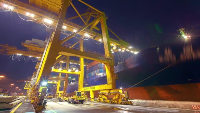 Cargo Container Hafen bei Nacht -Timelapse
