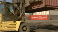 MS container handler setting down container in yard/ WS container handler turning and driving away/ Sydney, Australia