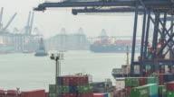 Container-Hafen, Central Hong Kong, schwenken links Zeitraffer.