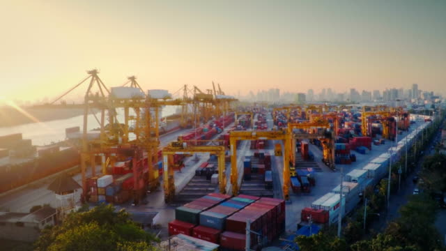 Container Port in sunset Aerial