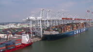 Container ship in Havre port