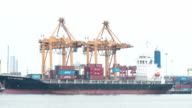 Container ship out of the harbor : Time-Lapse