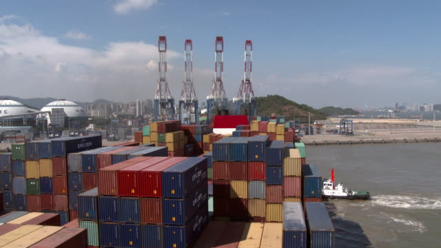 Containers ship in Xiamen port, China