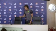 Conte press conference ahead of game v Leicester City ENGLAND Surrey Cobham INT Antonio Conte into room for press conference