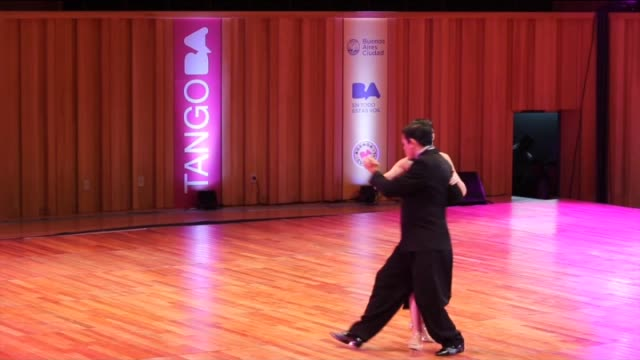 Contestants perform on the stage during the Stage Tango competition of the Tango World Championship 2015 in Buenos Aires Argentina on August 23 2015...