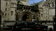 Control orders against six suspects quashed by court ENGLAND London Royal Courts of Justice EXT General view of Fleet Street PAN to High Court...