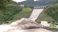 Controlled release of water at Shimen dam in Taiwan after typhoon Dujuan dumped large amounts of rain