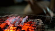 cook fresh squid on coal fire